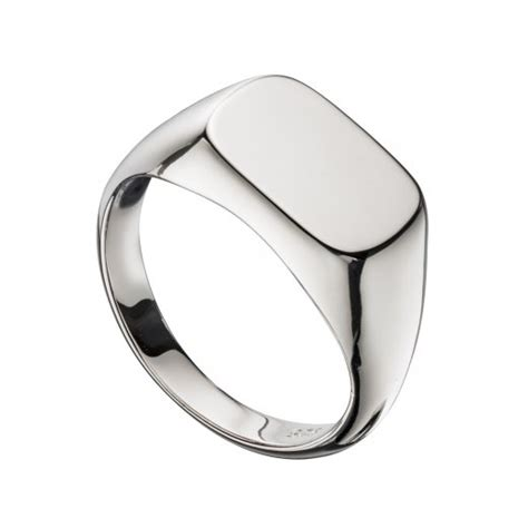 mens silver plain polished signet ring
