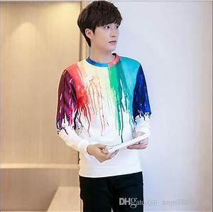 2018 Korean Style Male Print Sweater T Shirt New Autumn