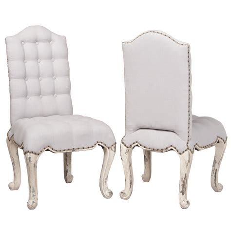 nailhead cabriole dining chair white tufted