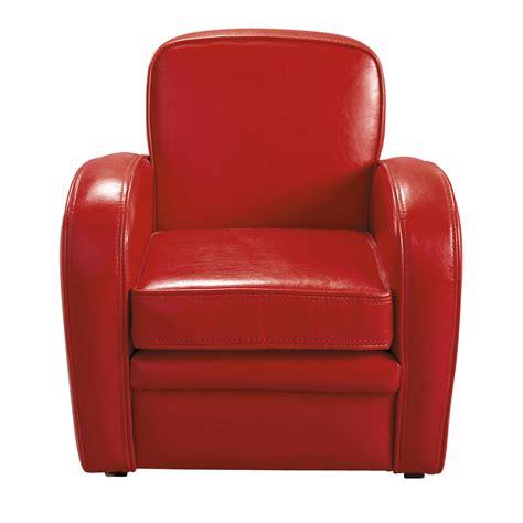 fauteuil club enfant imitation cuir rouge teddy maisons du monde
