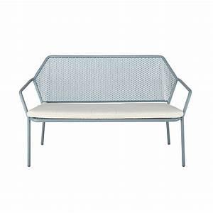 Gartenbank Metall 2 Sitzer : gartenbank 2 3 sitzer aus hellblauem metall mit wei em kissen maldives maisons du monde ~ Indierocktalk.com Haus und Dekorationen