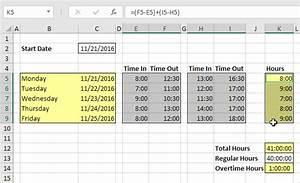 timesheet in excel formula
