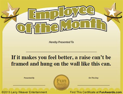 employee of the month certificate free funny award template - Free Printable Funny Certificate Templates