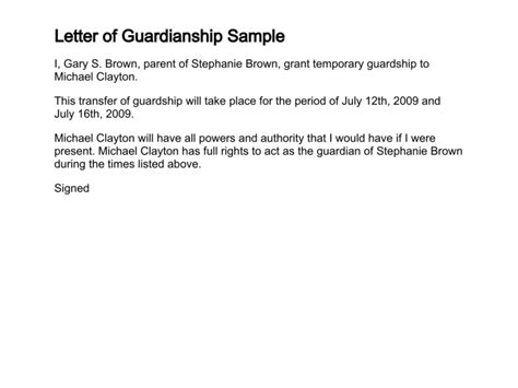 letter  guardianship