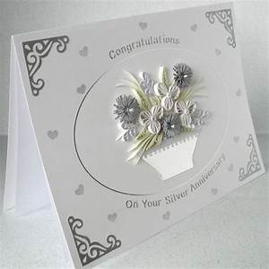 quilled 25th anniversary card silver wedding c With images of 25th wedding anniversary cards
