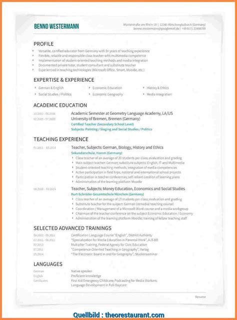 Cv Vorlage by Kreativ Cv Vorlage Englisch Lebenslauf Englisch