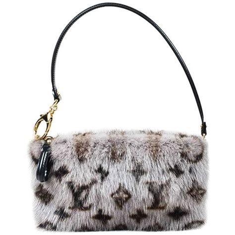louis vuitton gray brown black mink fur monogram milla mm pouch wristlet bag  sale  stdibs