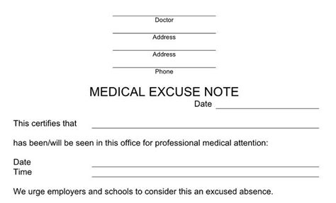 doctor note excuse templates  template