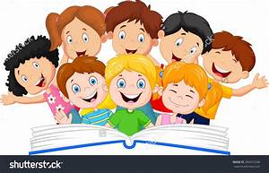 Cartoon pictures of children reading books clipart