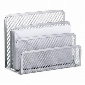 silver mesh letter holder the container store With letter caddy