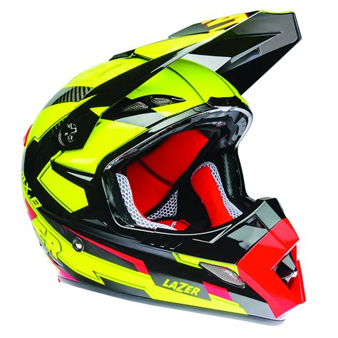 red motocross helmet lazer mx8 geotech pure carbon black yellow fluo red