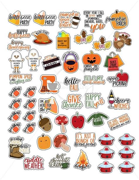 » free svg cut files. Free Fall Planner Stickers - 38 Different Designs | Fall ...