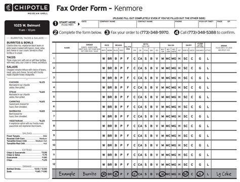 chipotle fax order form kenmore  template form