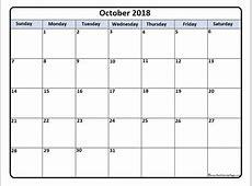 October 2018 calendar 56+ templates of 2018 printable calendars
