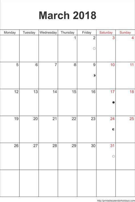 March 2018 Calendar Printable Free