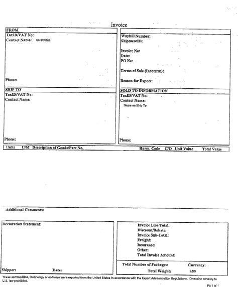 ups customs invoice invoice template ideas