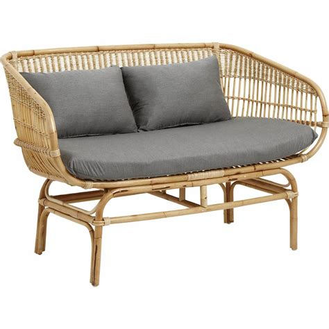 Rattan Sofa by Nordal Rattan Sofa With Gray Cushions Living And Co