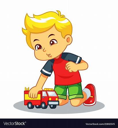 Playing Boy Toy Truck Vector Royalty