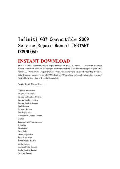 how to download repair manuals 2009 infiniti qx security system infiniti g37 convertible 2009 service repair manual instant download