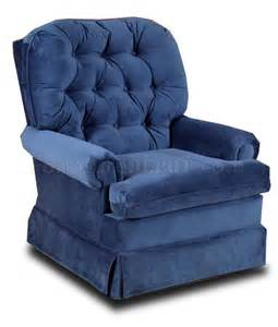 blue fabric comfortable traditional swivel rocker recliner