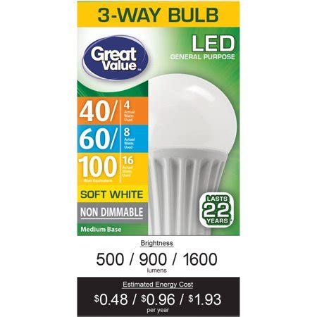 3 way light bulb walmart great value led 3 way e26 light bulb 4 16w 40 100