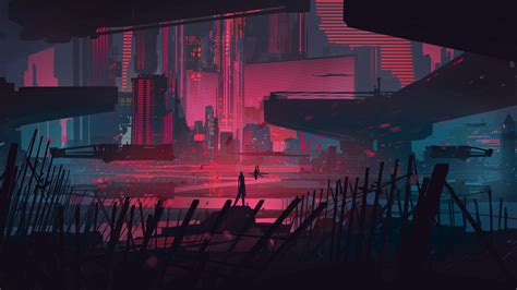 Futuristic City Hd Wallpaper Neon City Outskirts 1920x1080 Wallpapers