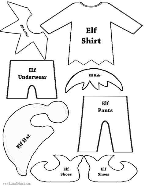 on the shelf template clothes and parts template elves template and clothes