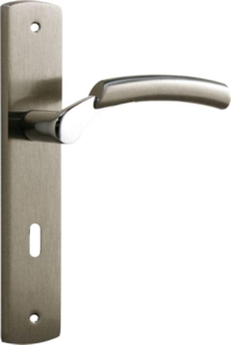 poign 233 e de porte int 233 rieure design en laiton nickel satin 233 sur plaque cl 233 l entraxe 195 mm