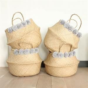Panier Basket Chambre : panier pompons can never have enough baskets pinterest jonc de mer pompons et panier ~ Teatrodelosmanantiales.com Idées de Décoration
