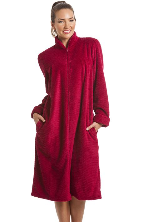peignoir robe de chambre femme fleece berry zip front house coat
