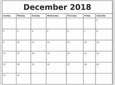 December 2018 Printable Monthly Calendar