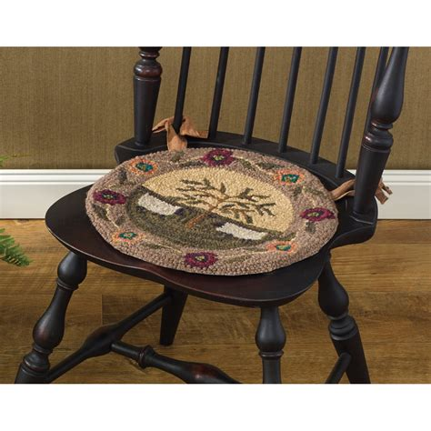 hooked chair pads willow and sheep hooked chair pad by park designs 14 5