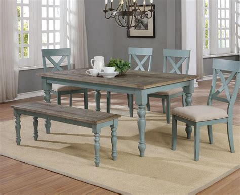 robins egg farmhouse table dining set  furniture place