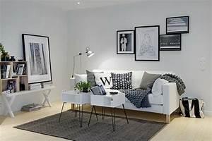 Coussin Style Scandinave : un salon en gris et blanc c 39 est chic voil 82 photos qui en t moignent ~ Teatrodelosmanantiales.com Idées de Décoration