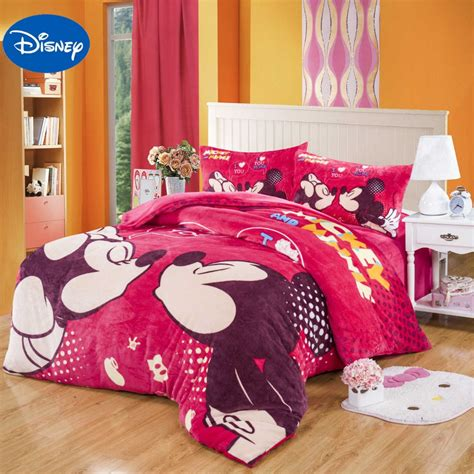 minnie mouse bedroom set size mickey minnie mouse flannel quilt comforter bedding set