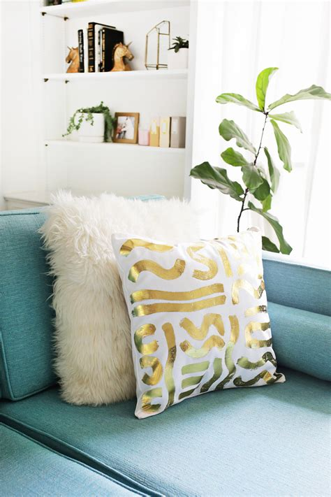 white and gold decorative pillows gold foil pillow diy a beautiful mess 1736