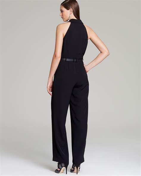 halter jumpsuits papell halter neck jumpsuit in black lyst
