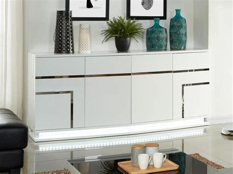 le bureau led design buffet luminescence iv avec leds mdf laqué blanc ou noir