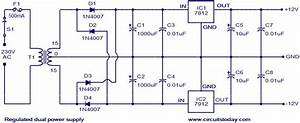 Regulated Dual Power Supply Circuit Circuit Diagram World