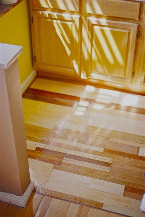 custom plywood floor patchwork design  salvaged