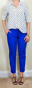 Outfit post polka-dot blouse blue cropped pants black t-strap wedges