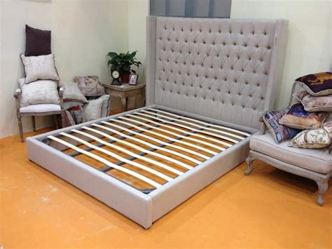 high  tufted linen fabric  wood bed