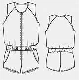 Jumpsuit Flat Template Spring Sketch Burdafashion источник Burda sketch template
