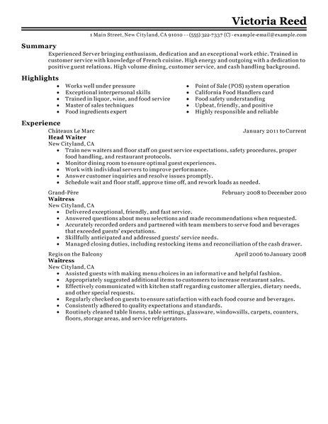 example of restaurant resume 18 amazing restaurant bar resume examples livecareer