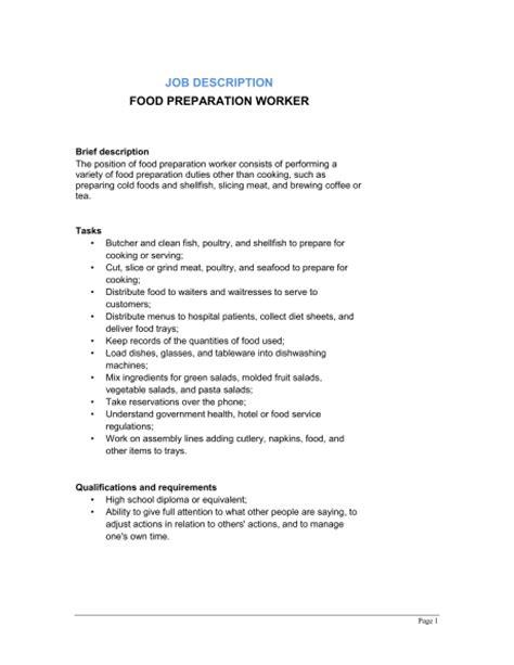 food preparation worker description template