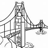 Bridge Gate Coloring Golden Landmarks Famous Places Monumentos Dibujos Thecolor Guardado Desde sketch template