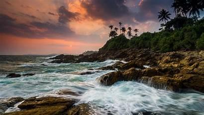 Tangalle Lanka Sri Rocky Sunset Shore Desktop