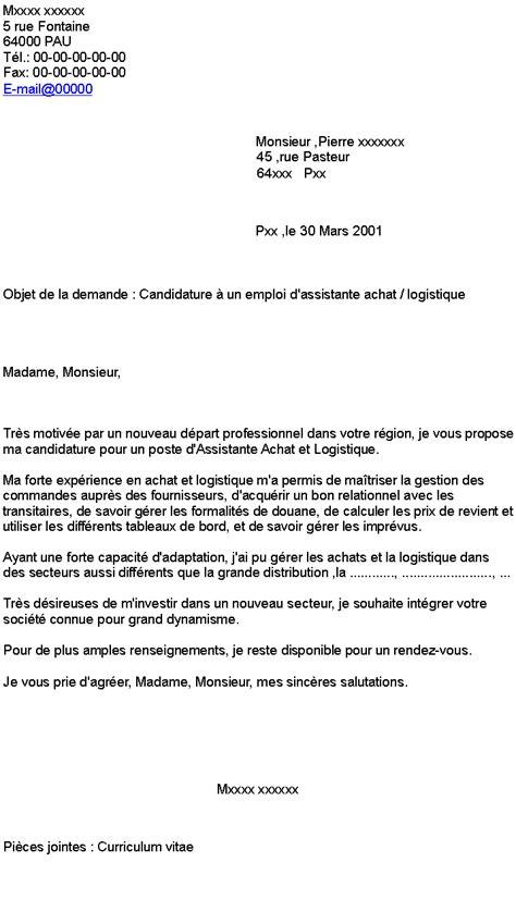 lettre de motivation employé de bureau candidature à un emploi d 39 assistante achat logistique