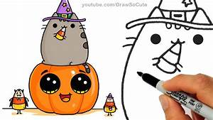 How to Draw Pusheen Cat on Pumpkin with Candy Corn step by