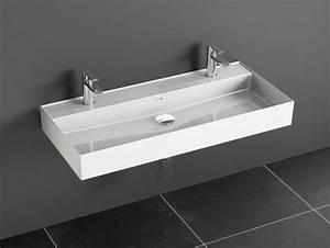 Doppelwaschtisch 100 Cm : aqua bagno keramik waschtisch 100 cm mit 2 hahnl chern ~ Sanjose-hotels-ca.com Haus und Dekorationen